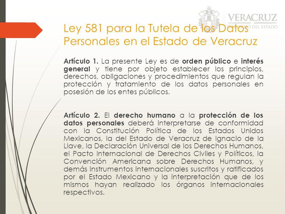 Ley 581 para la Tutela de los Datos Personales en el Estado de Veracruz