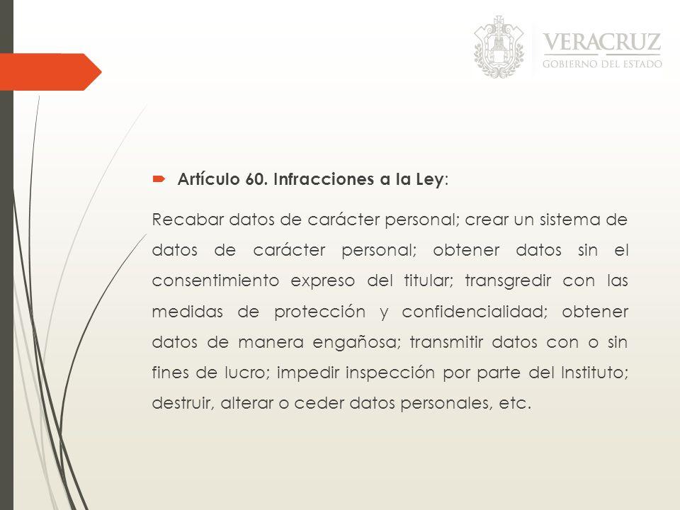 Artículo 60. Infracciones a la Ley: