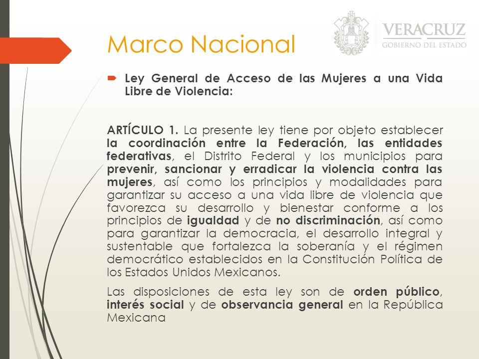 Marco Nacional Ley General de Acceso de las Mujeres a una Vida Libre de Violencia: