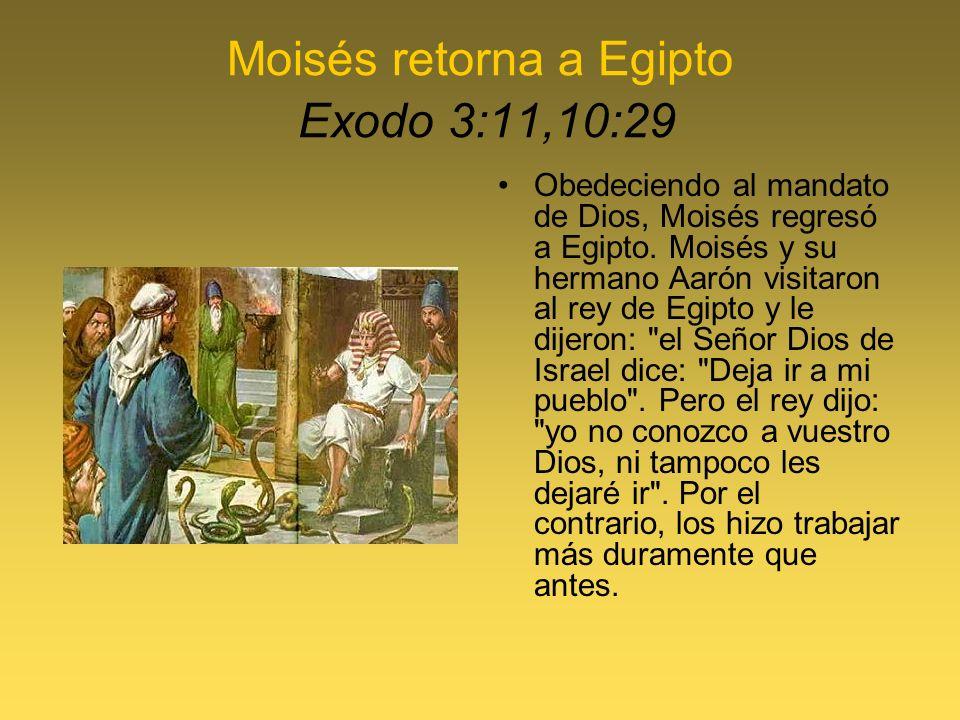 Moisés retorna a Egipto Exodo 3:11,10:29