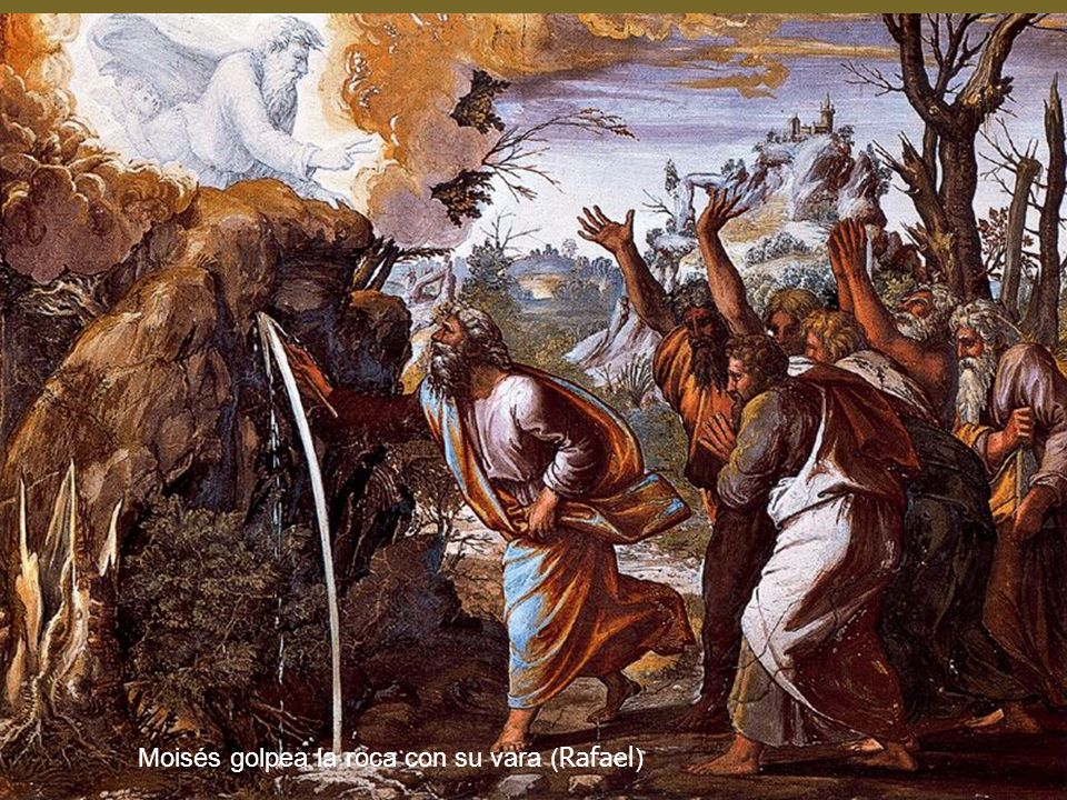 Moisés golpea la roca con su vara (Rafael)