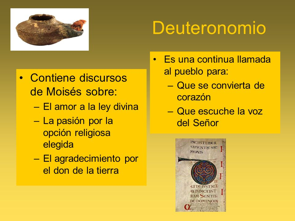 Deuteronomio Contiene discursos de Moisés sobre: