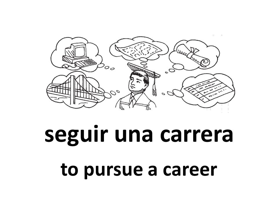 seguir una carrera to pursue a career