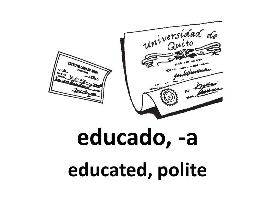 educado, -a educated, polite 92