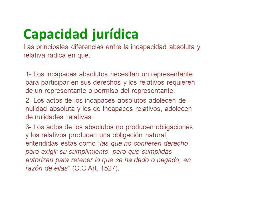 Capacidad jurídica Las principales diferencias entre la incapacidad absoluta y relativa radica en que: