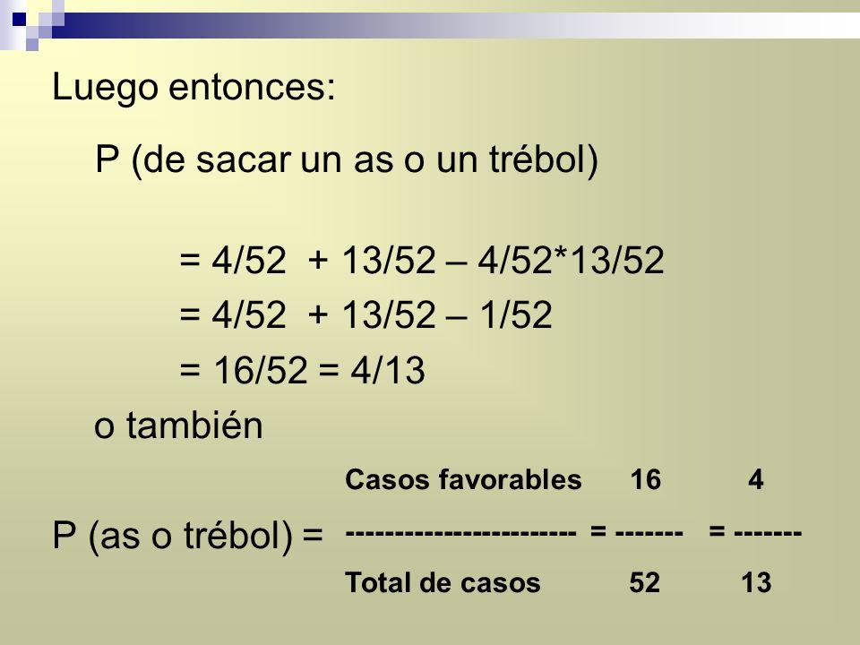 P (de sacar un as o un trébol) = 4/52 + 13/52 – 4/52*13/52