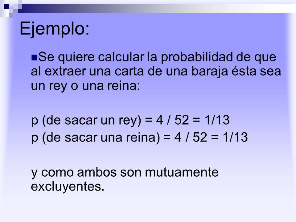 Ejemplo: Se quiere calcular la probabilidad de que al extraer una carta de una baraja ésta sea un rey o una reina:
