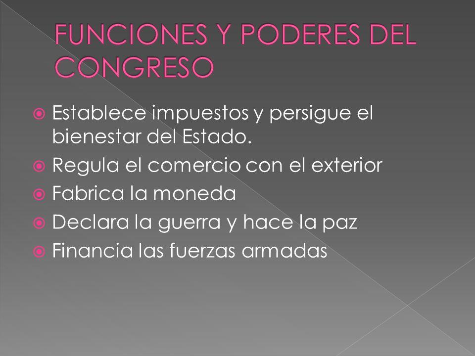 FUNCIONES Y PODERES DEL CONGRESO