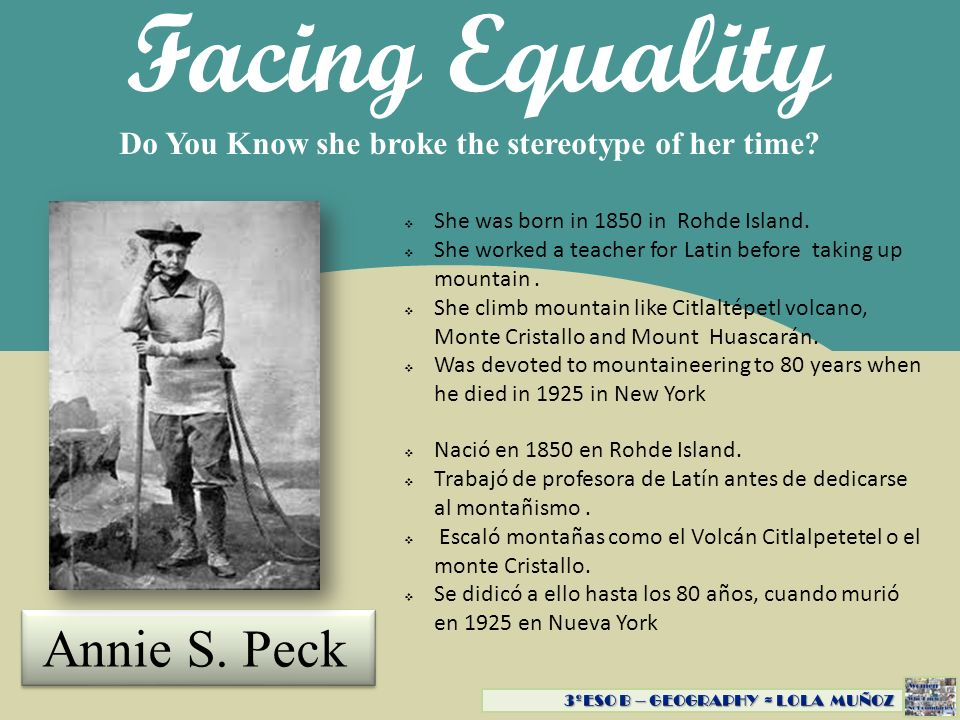 Facing Equality Annie S. Peck