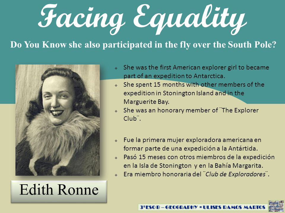 Facing Equality Edith Ronne