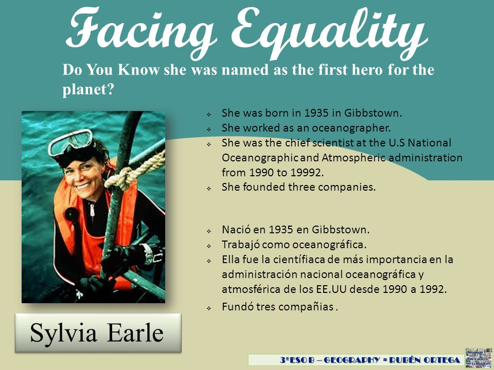 Facing Equality Sylvia Earle