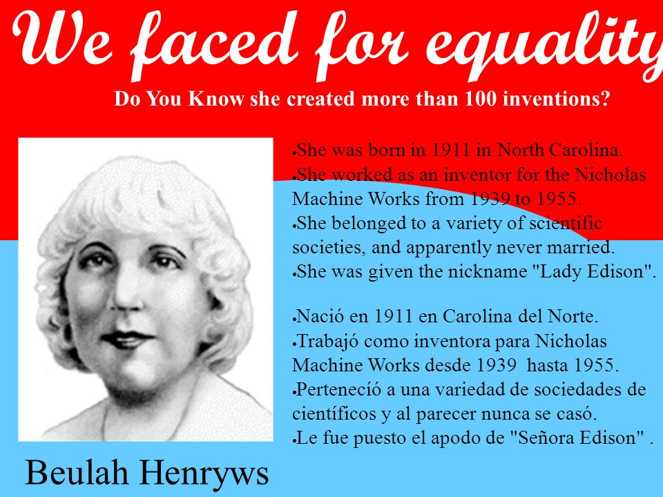 We faced for equality We faced for equality Beulah Henryws