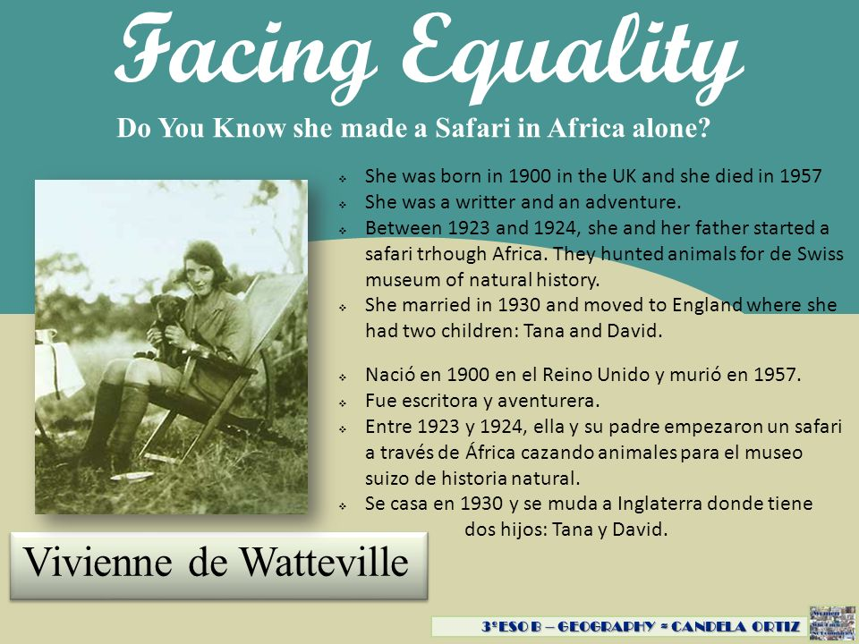 Facing Equality Vivienne de Watteville