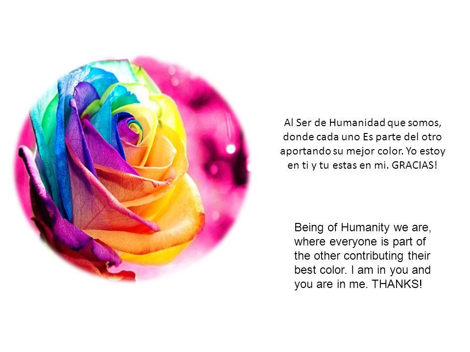 Al Ser de Humanidad que somos, donde cada uno Es parte del otro aportando su mejor color. Yo estoy en ti y tu estas en mi. GRACIAS!