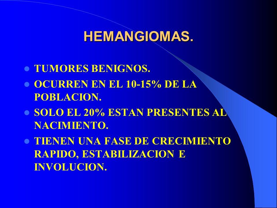 HEMANGIOMAS. TUMORES BENIGNOS. OCURREN EN EL 10-15% DE LA POBLACION.