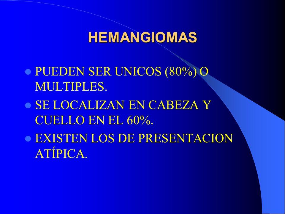 HEMANGIOMAS PUEDEN SER UNICOS (80%) O MULTIPLES.