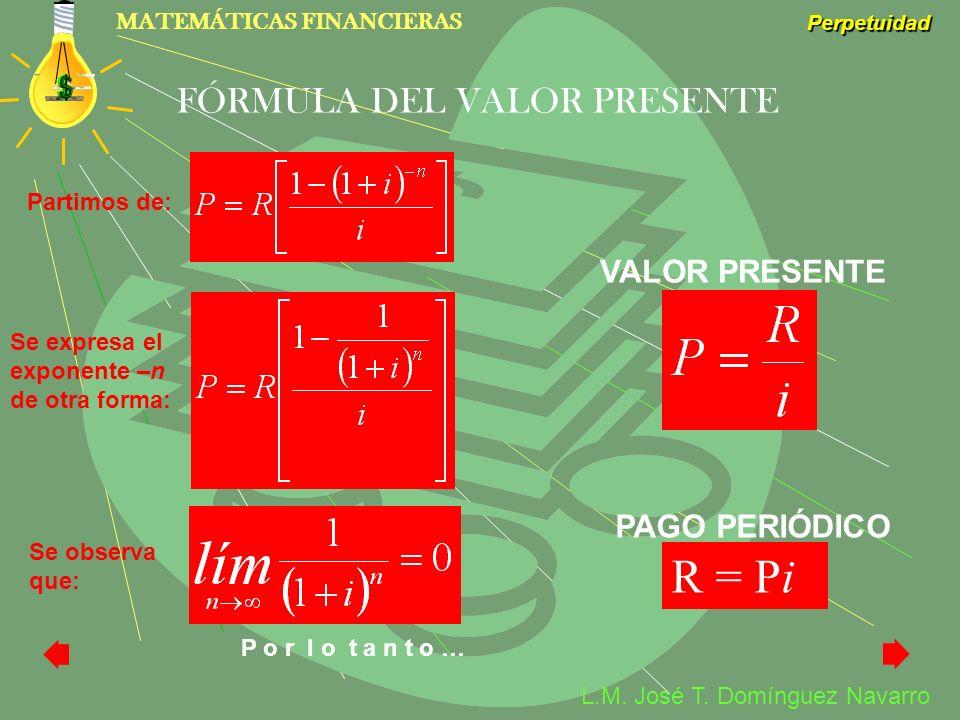 R = Pi FÓRMULA DEL VALOR PRESENTE VALOR PRESENTE PAGO PERIÓDICO