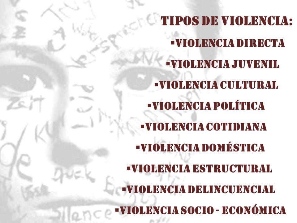 TIPOS DE VIOLENCIA: Violencia directa VIOLENCIA JUVENIL