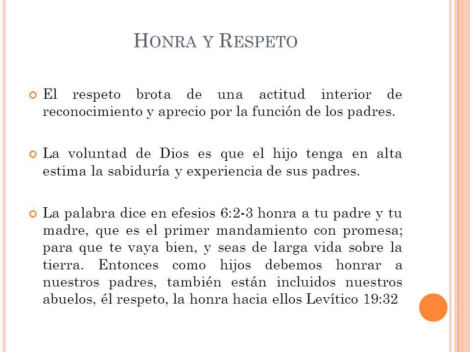 Honra y Respeto El respeto brota de una actitud interior de reconocimiento y aprecio por la función de los padres.