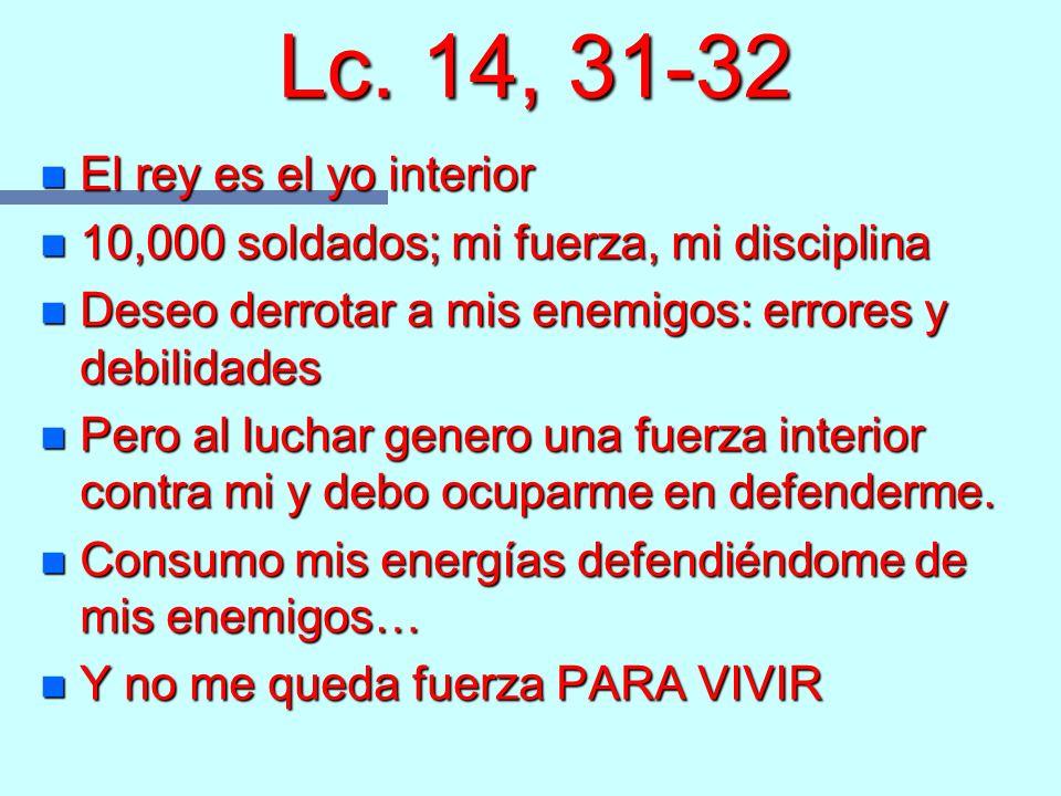 Lc. 14, 31-32 El rey es el yo interior