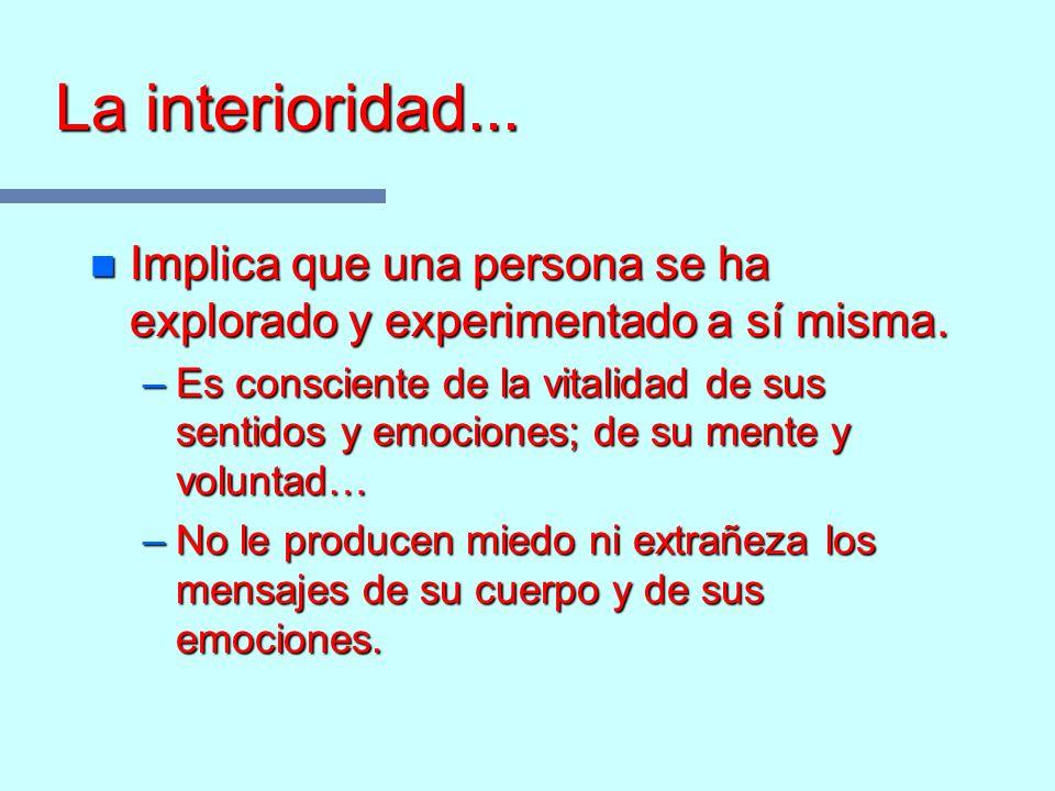 La interioridad... Implica que una persona se ha explorado y experimentado a sí misma.