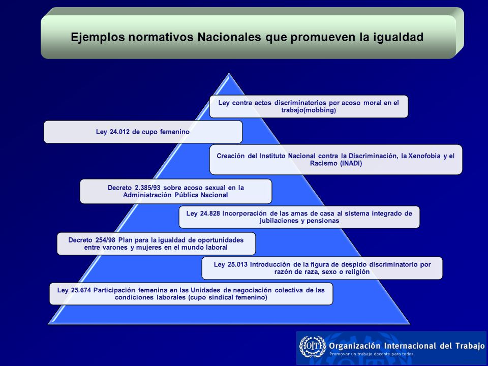Ejemplos normativos Nacionales que promueven la igualdad