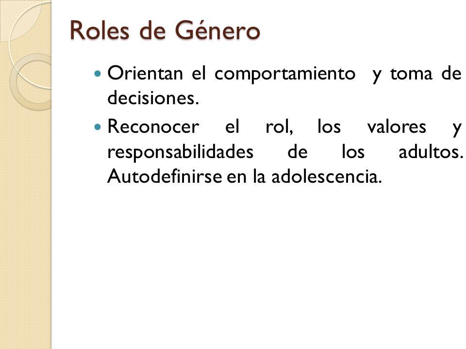 Roles de Género Orientan el comportamiento y toma de decisiones.