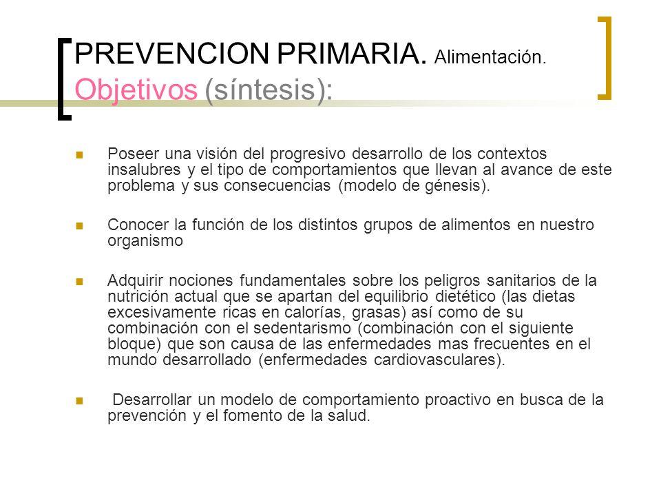 PREVENCION PRIMARIA. Alimentación. Objetivos (síntesis):
