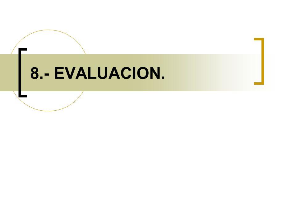 8.- EVALUACION.