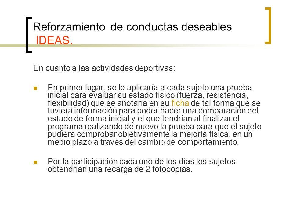 Reforzamiento de conductas deseables IDEAS.