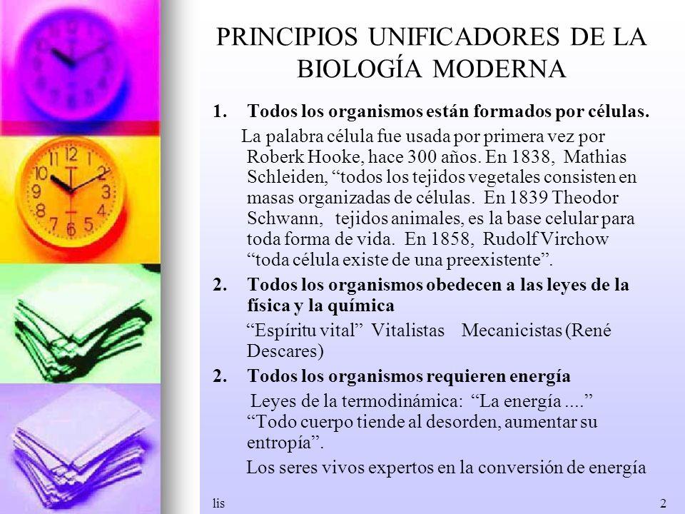 PRINCIPIOS UNIFICADORES DE LA BIOLOGÍA MODERNA