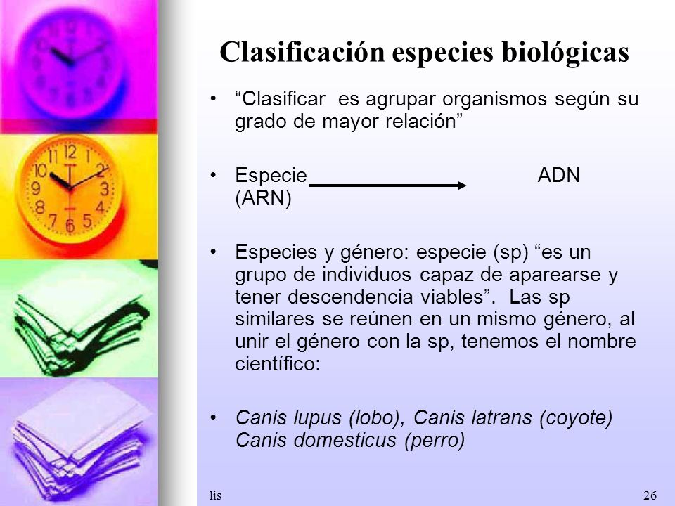 Clasificación especies biológicas