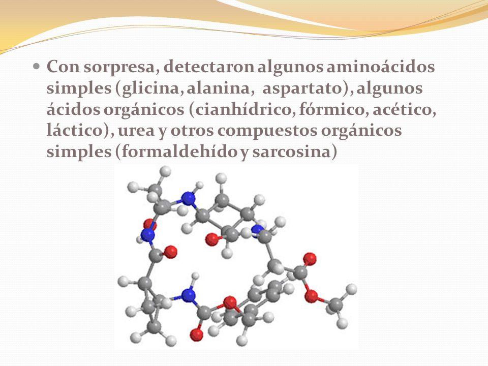 Con sorpresa, detectaron algunos aminoácidos simples (glicina, alanina, aspartato), algunos ácidos orgánicos (cianhídrico, fórmico, acético, láctico), urea y otros compuestos orgánicos simples (formaldehído y sarcosina)