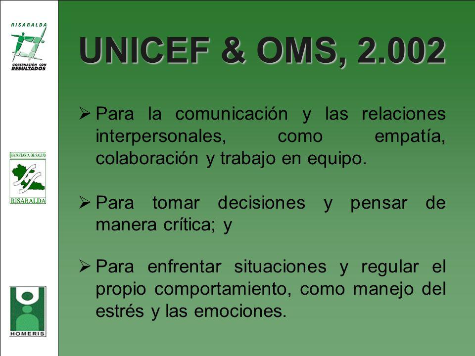 UNICEF & OMS, 2.002 Para la comunicación y las relaciones interpersonales, como empatía, colaboración y trabajo en equipo.