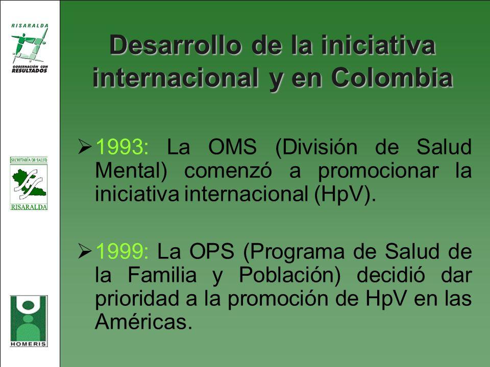 Desarrollo de la iniciativa internacional y en Colombia
