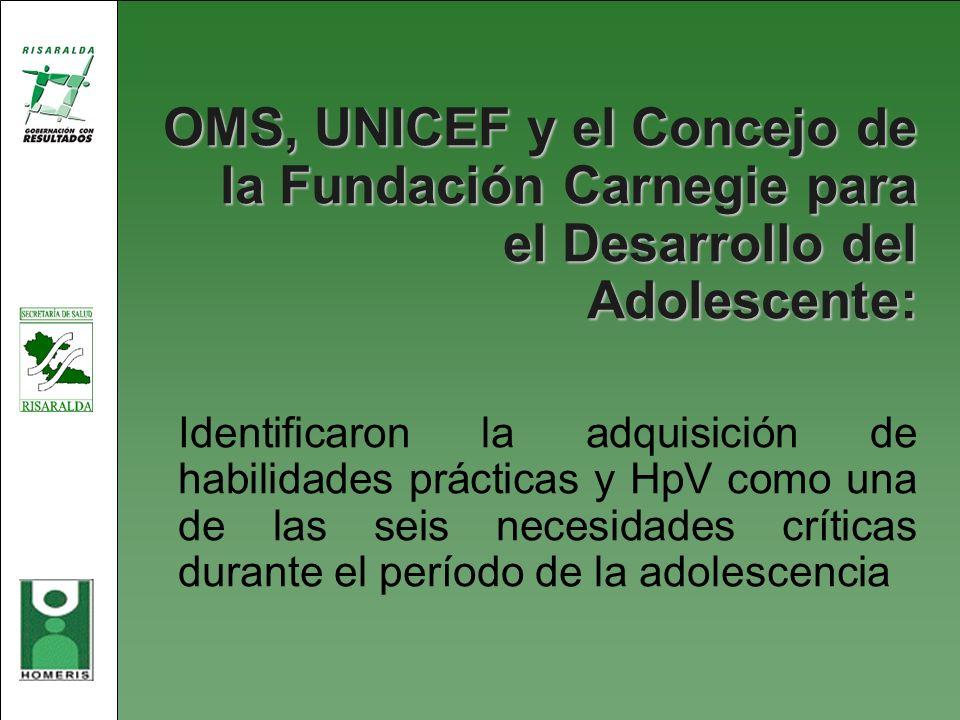 OMS, UNICEF y el Concejo de la Fundación Carnegie para el Desarrollo del Adolescente:
