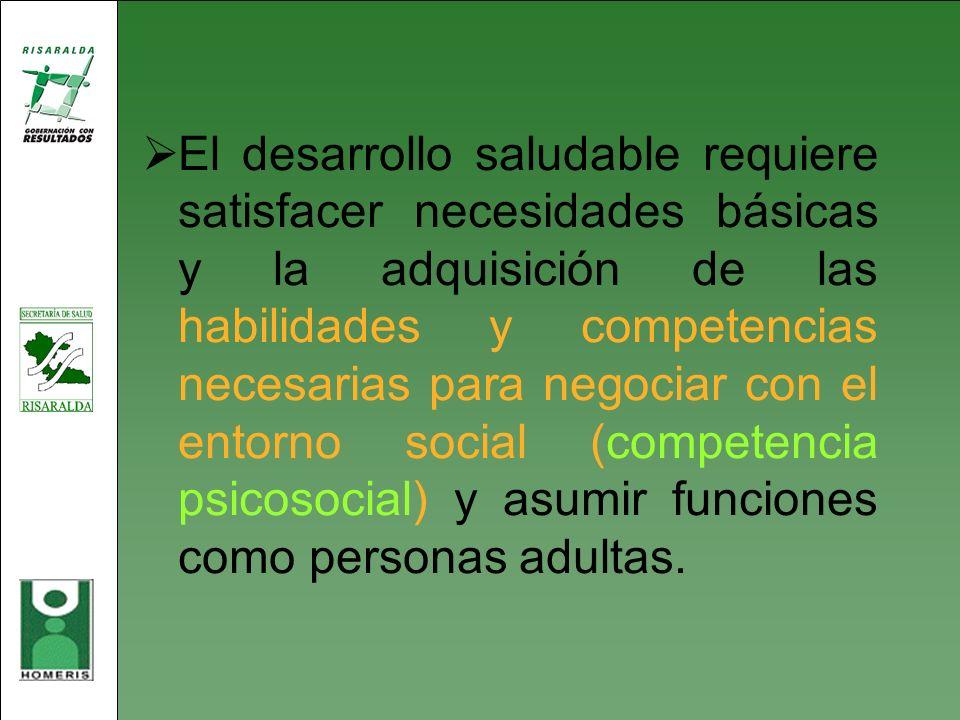 El desarrollo saludable requiere satisfacer necesidades básicas y la adquisición de las habilidades y competencias necesarias para negociar con el entorno social (competencia psicosocial) y asumir funciones como personas adultas.