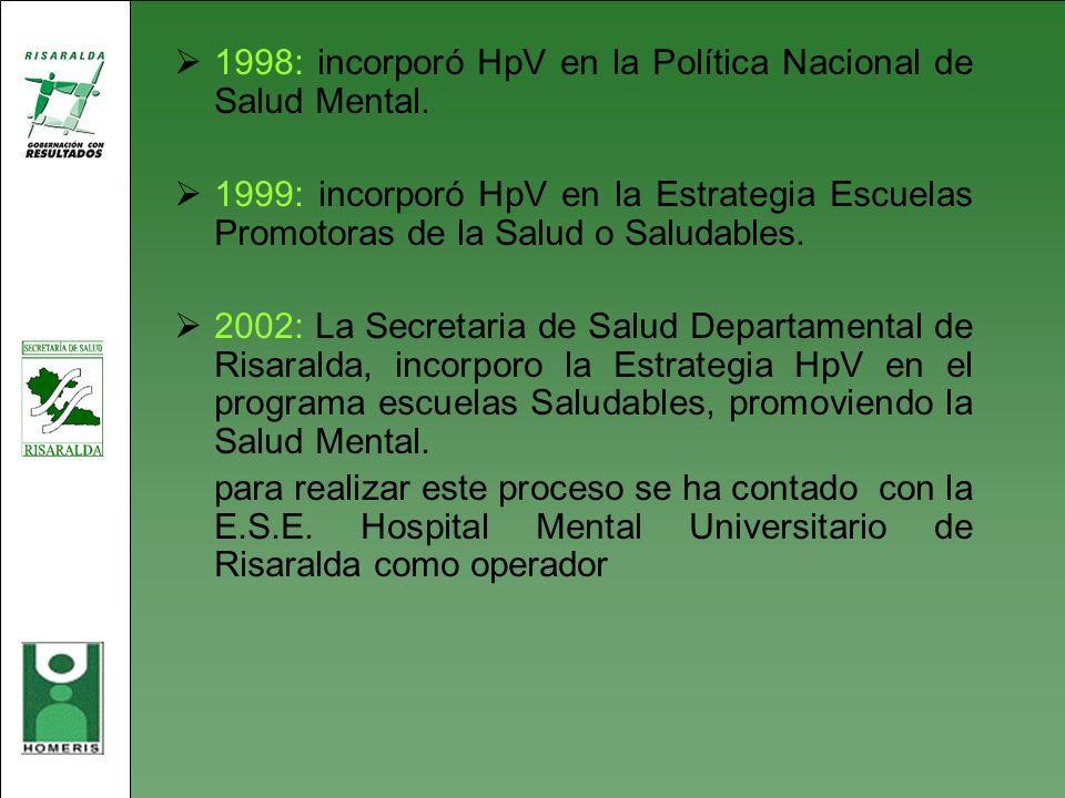 1998: incorporó HpV en la Política Nacional de Salud Mental.