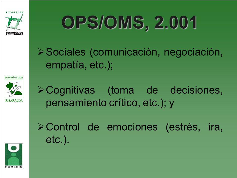 OPS/OMS, 2.001 Sociales (comunicación, negociación, empatía, etc.);
