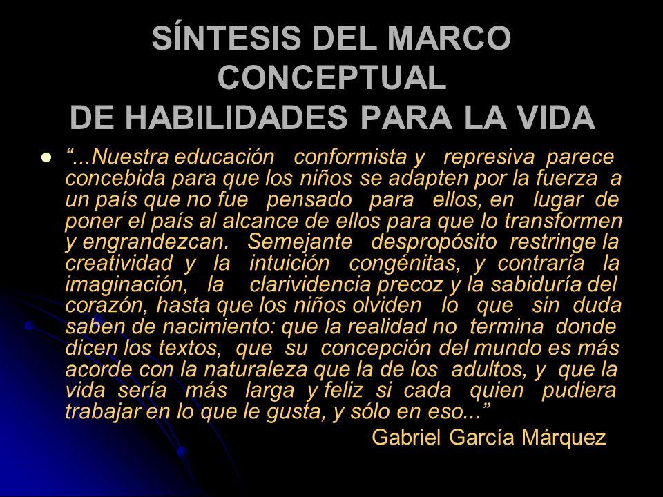SÍNTESIS DEL MARCO CONCEPTUAL DE HABILIDADES PARA LA VIDA