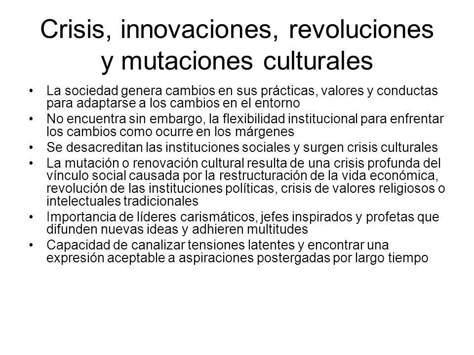Crisis, innovaciones, revoluciones y mutaciones culturales