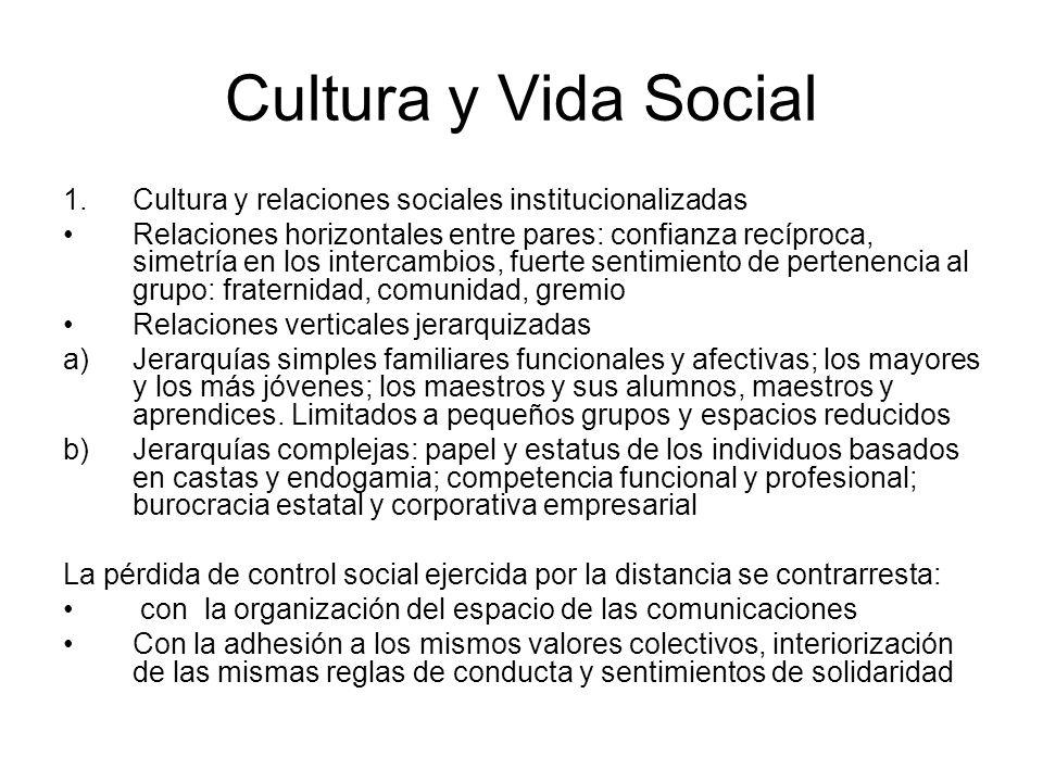 Cultura y Vida Social Cultura y relaciones sociales institucionalizadas.