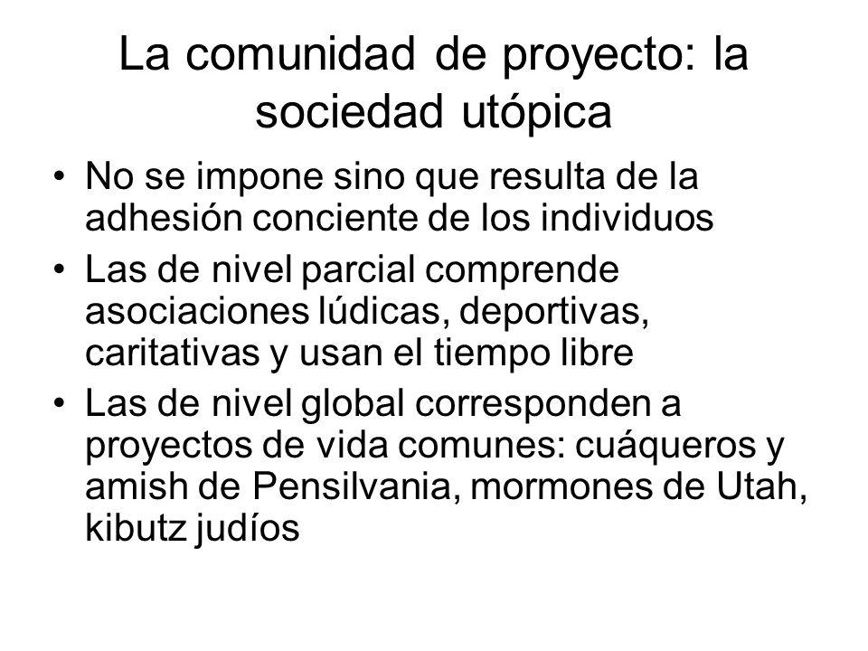 La comunidad de proyecto: la sociedad utópica