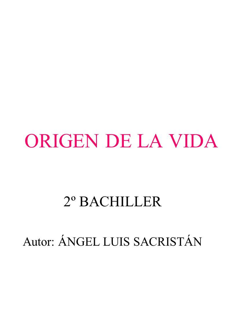 2º BACHILLER Autor: ÁNGEL LUIS SACRISTÁN