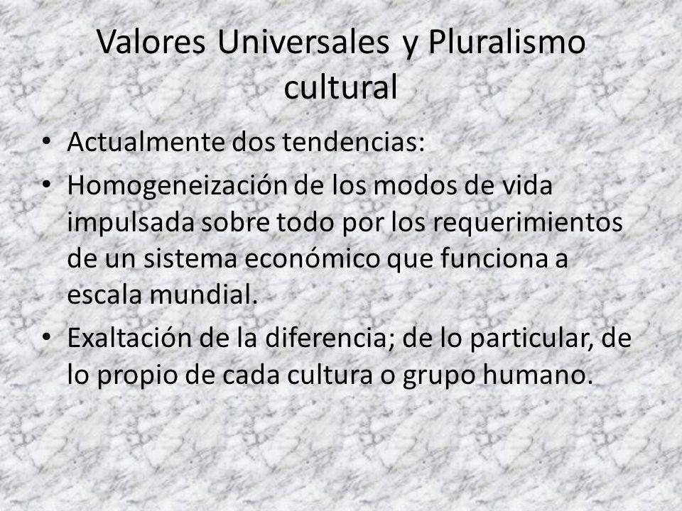 Valores Universales y Pluralismo cultural