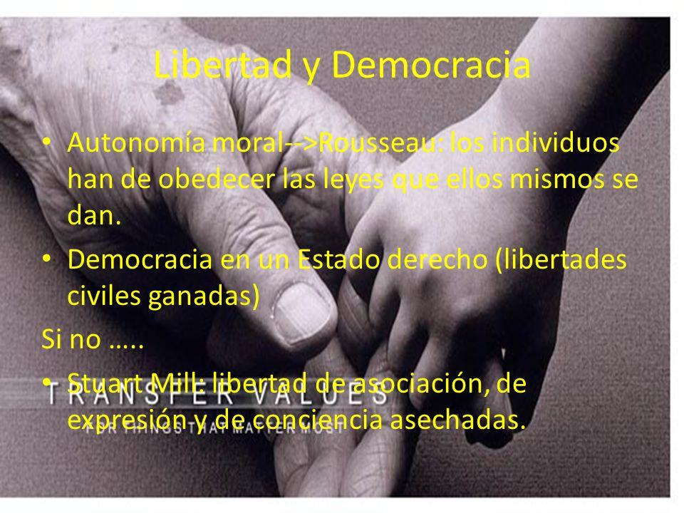 Libertad y Democracia Autonomía moral-->Rousseau: los individuos han de obedecer las leyes que ellos mismos se dan.