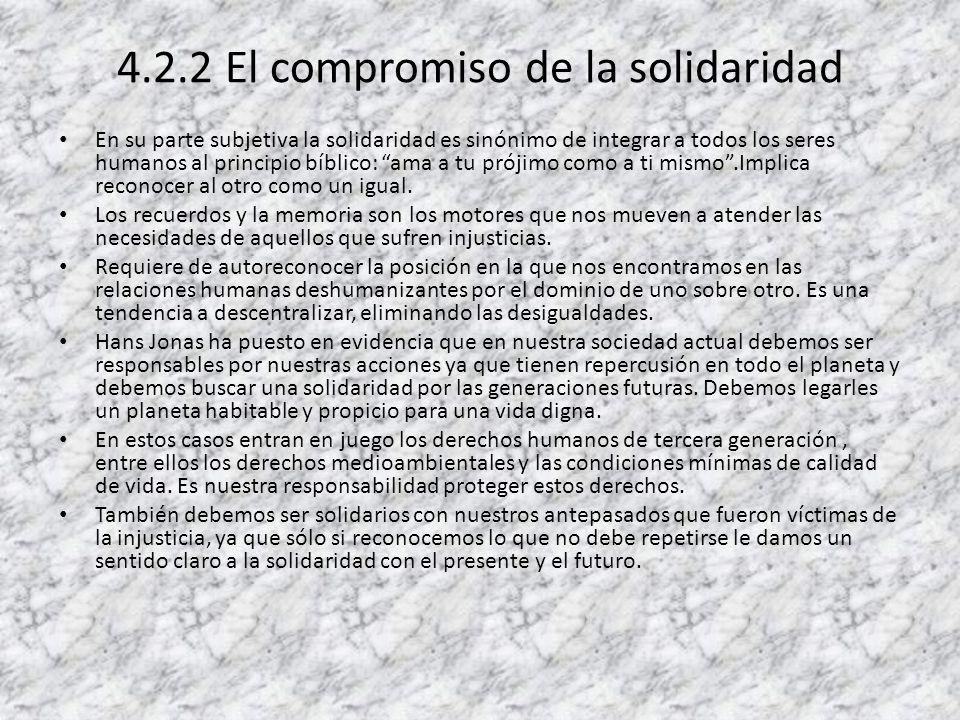 4.2.2 El compromiso de la solidaridad