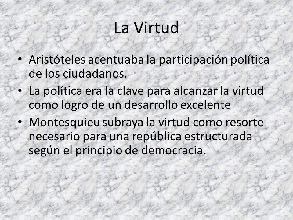 La Virtud Aristóteles acentuaba la participación política de los ciudadanos.