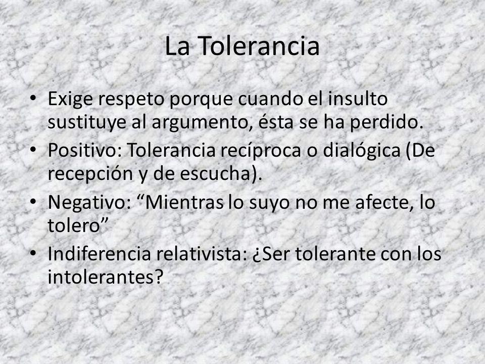 La Tolerancia Exige respeto porque cuando el insulto sustituye al argumento, ésta se ha perdido.