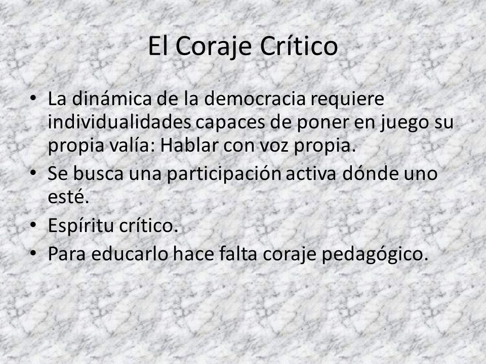 El Coraje Crítico La dinámica de la democracia requiere individualidades capaces de poner en juego su propia valía: Hablar con voz propia.